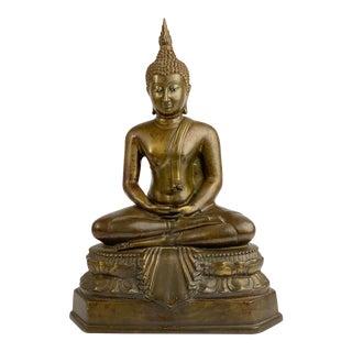 Bronze Buddha Figure in Meditation Posture - Half Lotus/Dhyana Mudra , Thailand, 20th Century For Sale
