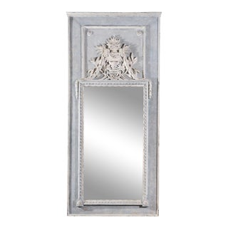 French Light Grey Painted Trumeau Mirror with Floral Décor and Mercury Glass For Sale