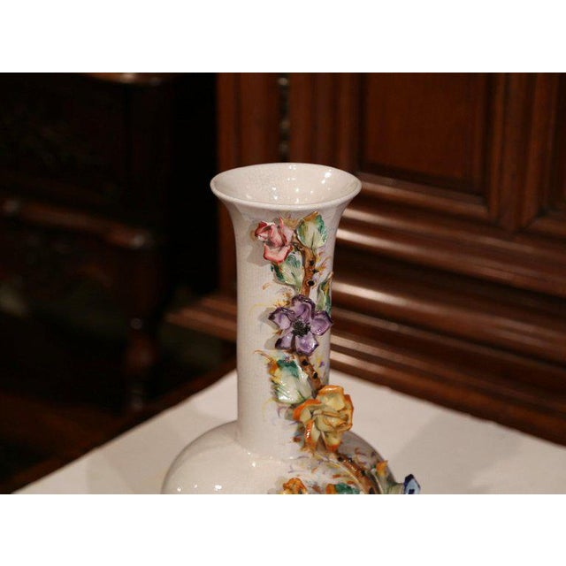 Large Early 20th Century French Hand Painted Barbotine Vase With Flowers For Sale In Dallas - Image 6 of 10