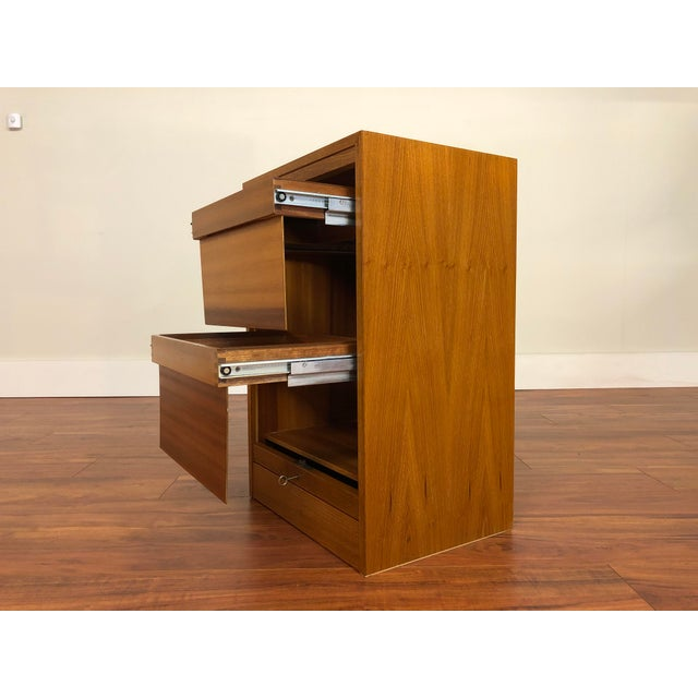 Mid 20th Century Danish Teak File Cabinet With Drop Down Tambour Door and Two Filing Drawers For Sale - Image 5 of 11
