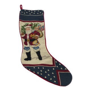 Needlepoint Stocking With Americana Santa Claus Motif For Sale