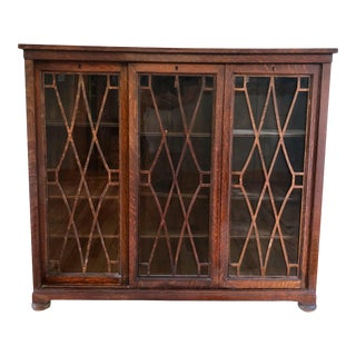 Antique Arts & Crafts Quartersawn Oak 3 Sliding Door Library Cabinet For Sale