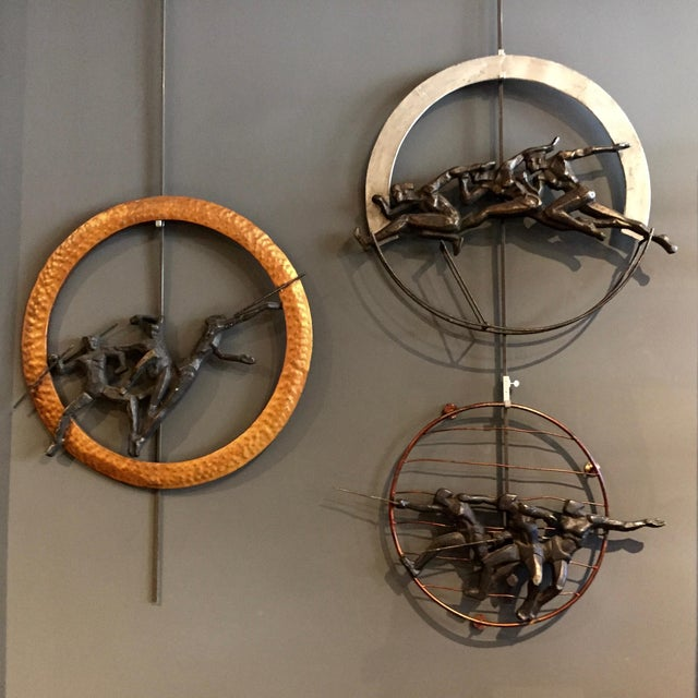 """Set of 1930s Olympic Athlete Metal Wall Sculptures, 30"""" For Sale - Image 11 of 11"""