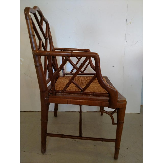 Vintage Chippendale Faux Bamboo Armchair For Sale - Image 5 of 9