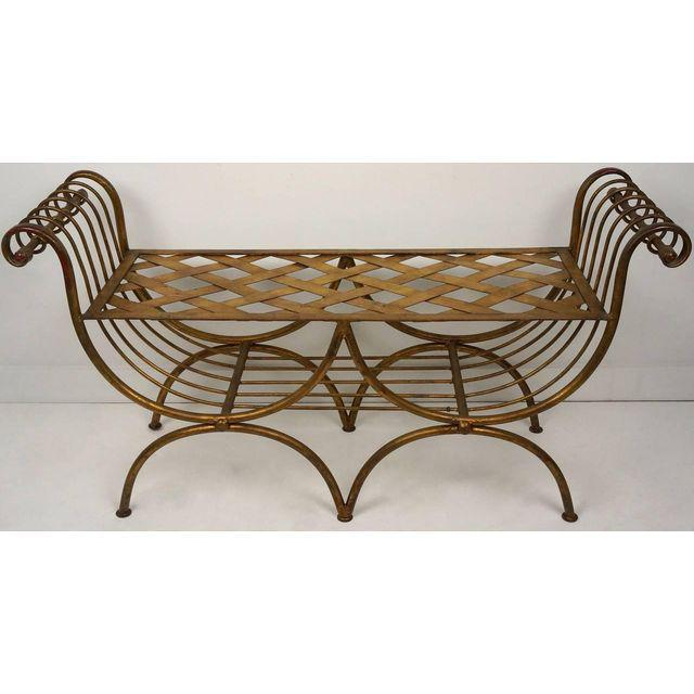 Hollywood Regency Style Gold Gilt Metal Tiger Pattern Fabric Cushion Bench - Image 6 of 10