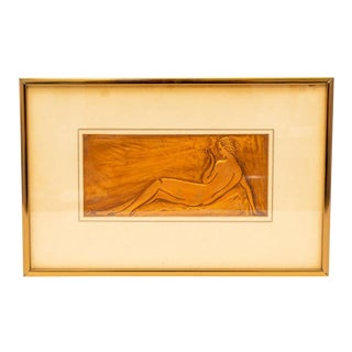 American Art Deco Embossed Copper Plate Bas Relief of a Reclining Nude Female 1930s For Sale