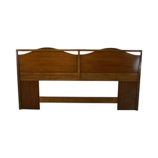 Mid-Century Walnut Paul McCobb Style King Size Headboard For Sale