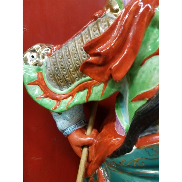 Mid-Century Chinese Porcelain Warrior Statue For Sale - Image 4 of 12