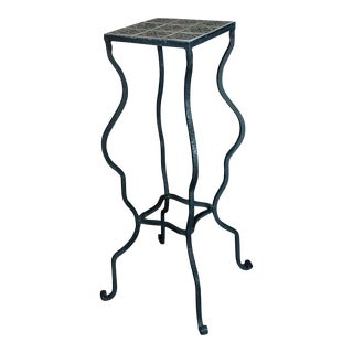 Spanish Revival Beautiful Vintage Tile Top Wrought Iron Plant Stand For Sale
