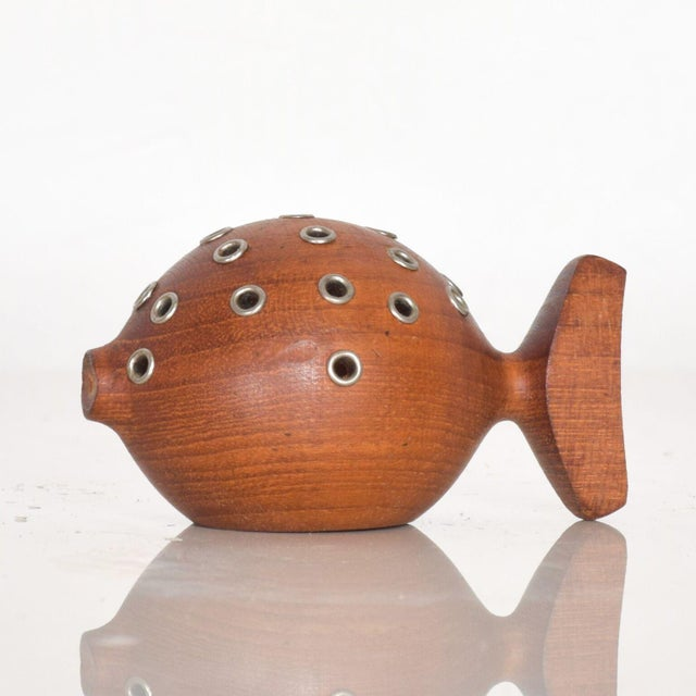 Mid-Century Modern Puffer Fish Toothpick Holder Appetizer Server in Solid Teak Denmark For Sale - Image 3 of 8