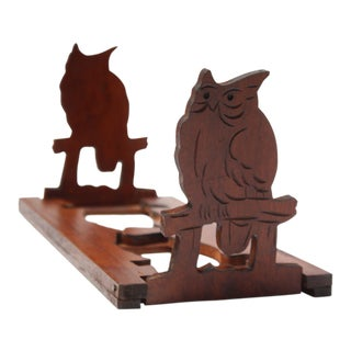 Mid-20th Century Carved Owl Pop-Up Bookrack / Bookends For Sale