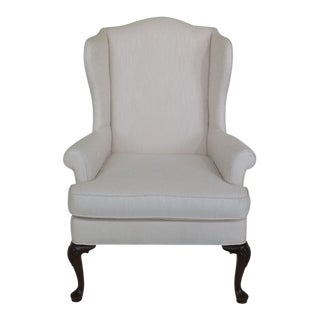 1980s Vintage Woodmark Originals Queen Anne Style Wingback Chair For Sale