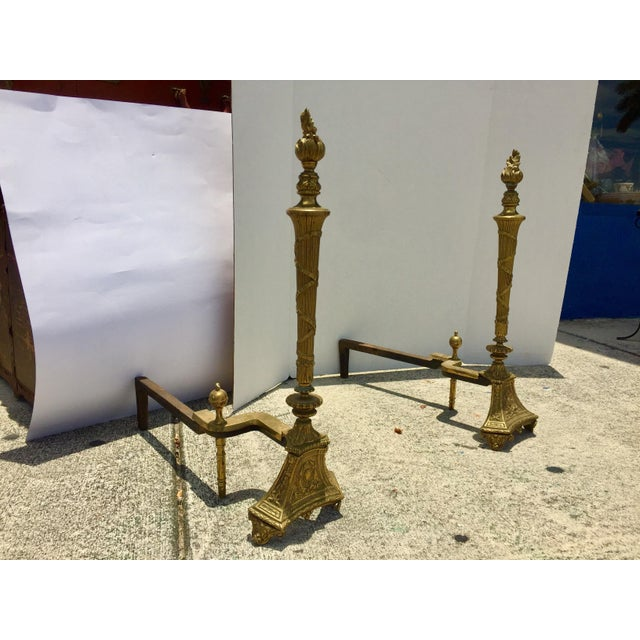 Antique Empire Brass Andirons - A Pair - Image 11 of 11