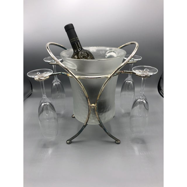 Metal Mid-Century Glass & Chrome Caddy Ice Bucket With Champagne Glasses - 5 Pc. Set For Sale - Image 7 of 9