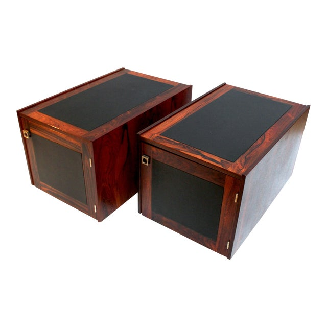 1960s Bornholm Danish Rosewood & Leather Storage Side Tables- a Pair For Sale