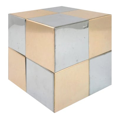 Paul Evans Style Mixed Metal Cube For Sale