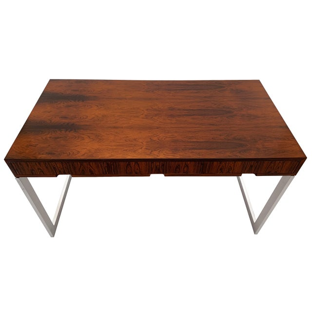 Milo Baughman Rosewood and Chrome Desk For Sale - Image 10 of 13