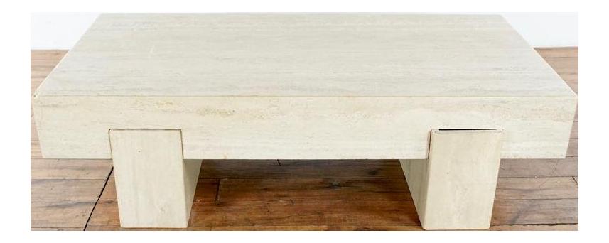 Mid Century Modern Style Faux Travertine Coffee Table Chairish