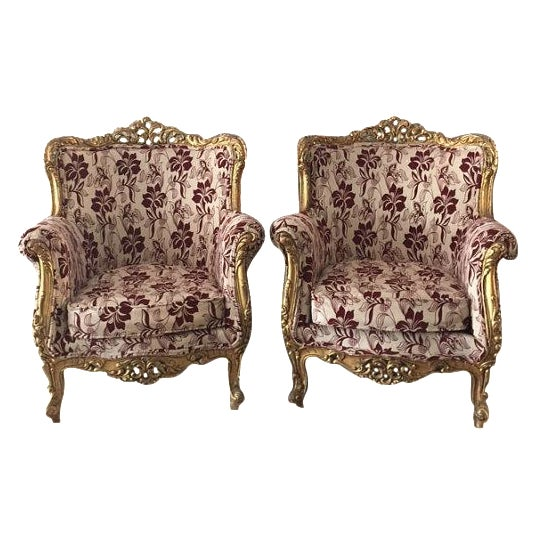 Baroque Bergère-Style Chairs - A Pair For Sale