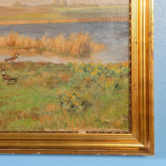 "Original Antique ""Shore Birds in a Marsh"" Landscape Painting Signed C. Hoyrup For Sale - Image 4 of 10"