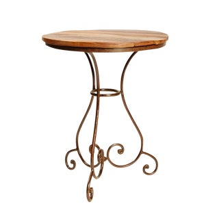 Reclaimed Wood & Iron Bistro Round Table