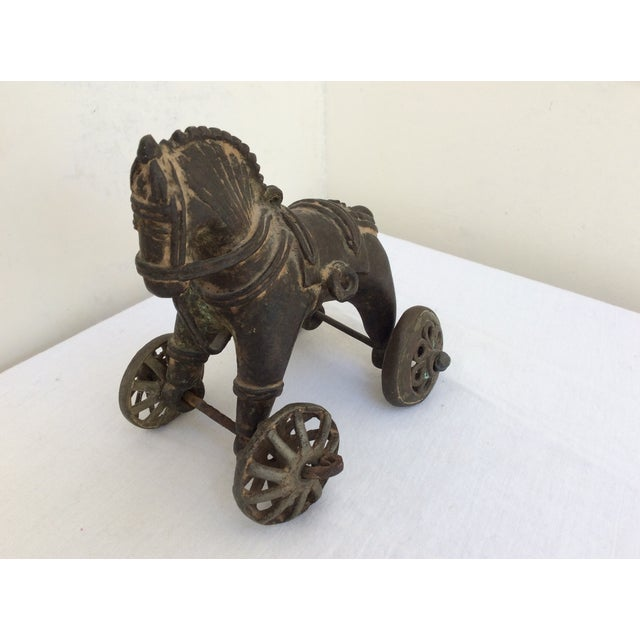 Mid 19th Century Antique Bronze Toy Horse From India For Sale - Image 5 of 8