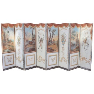 Early 18th Century Antique French Double-Sided Eight-Panel Painted Screen For Sale