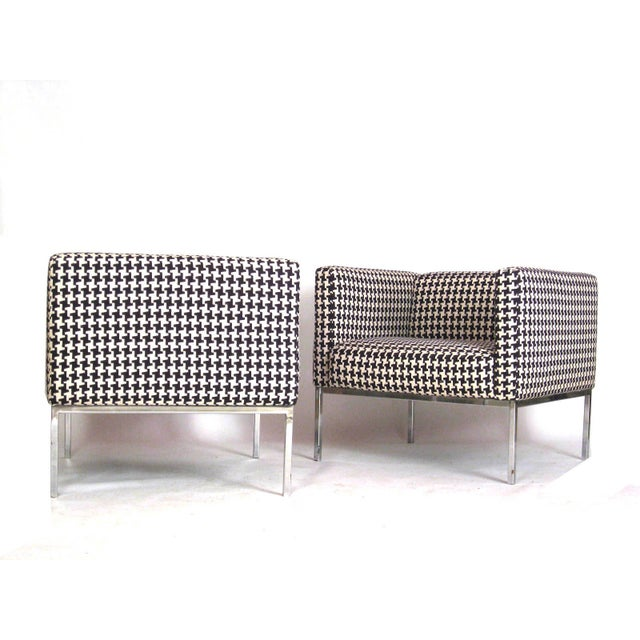 Houndstooth Chrome Club Chairs - A Pair - Image 3 of 6