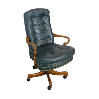 Quality Green Leather Tufted Executive Office Swivel Desk Chair by Laurent For Sale