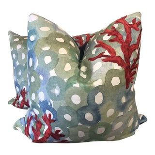"""Custom Embroidered Coral on Cotton Print 22"""" Pillows-A Pair For Sale"""