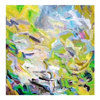 "Trixie Pitts's Large Abstract Oil Painting ""Rocky Mountain Spring"" For Sale"