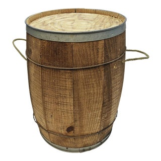 Vintage Rustic Banded Weathered Wood Nail Keg with Seat