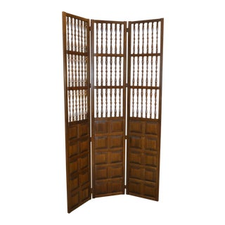 Vintage Jacobean Style Wood Room Divider For Sale