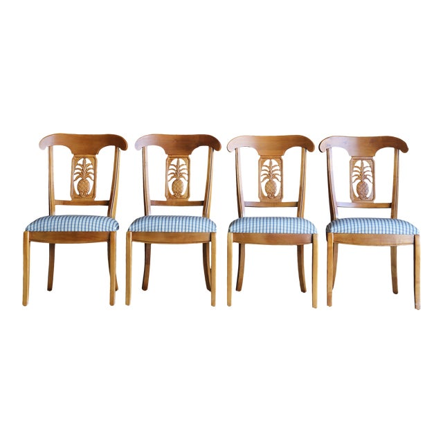 1990s Vintage Ethan Allen Legacy Collection Pineapple Dining Side Chairs- Set of 4 For Sale