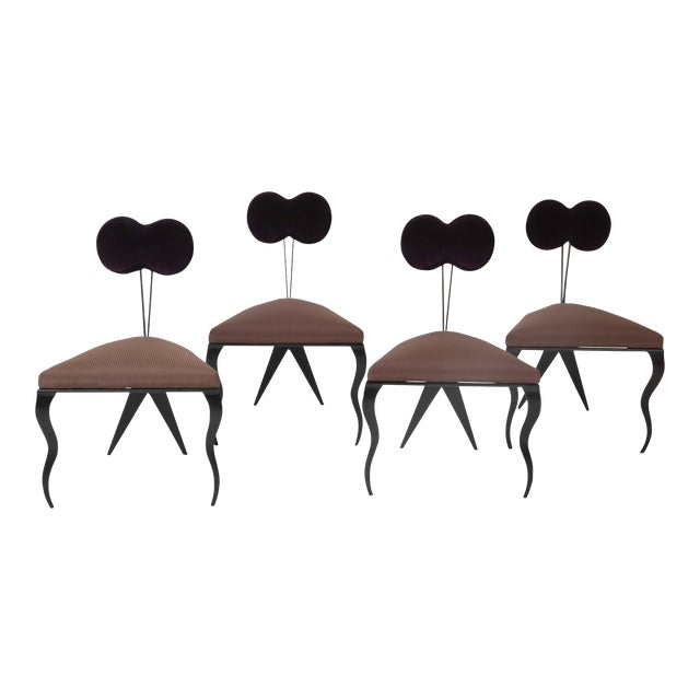 Upholstered Steel Frame Chairs by Joaquin Gasgonia Palencia - Set of 4 For Sale