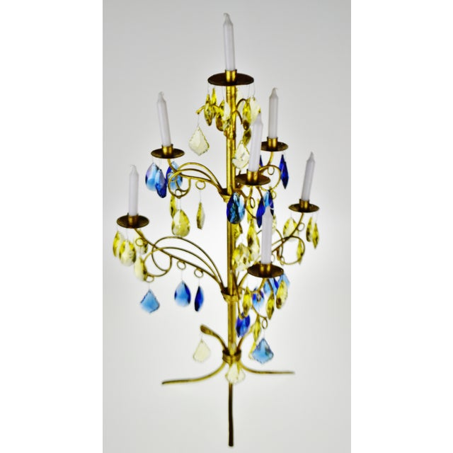 Metal Vintage Italian Tole Gold Gilt Candelabra With Multi - Colored Cut Glass Prisms For Sale - Image 7 of 13