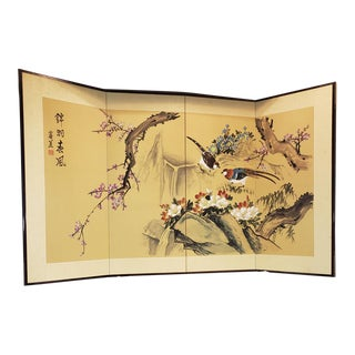 Vintage Asian Silk Screen Hand Painted Painting Divider For Sale