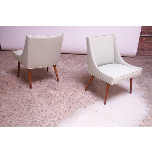 Mid-Century Modern Vintage Walnut and Leather Slipper Chairs by Milo Baughman - a Pair For Sale - Image 3 of 13