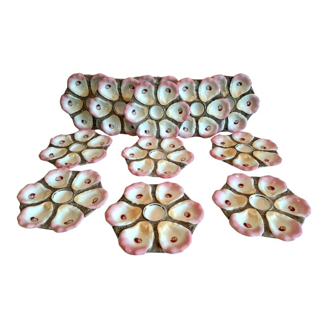 Antique 1880s Oyster Plates - Set of 12 For Sale