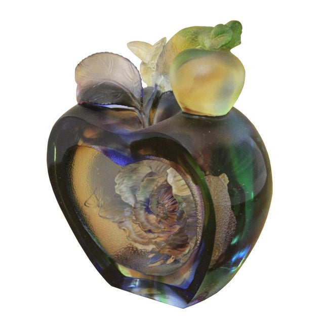 Liuli Crystal Glass Pate-De-Verre Rose Apple Paperweight For Sale - Image 4 of 5