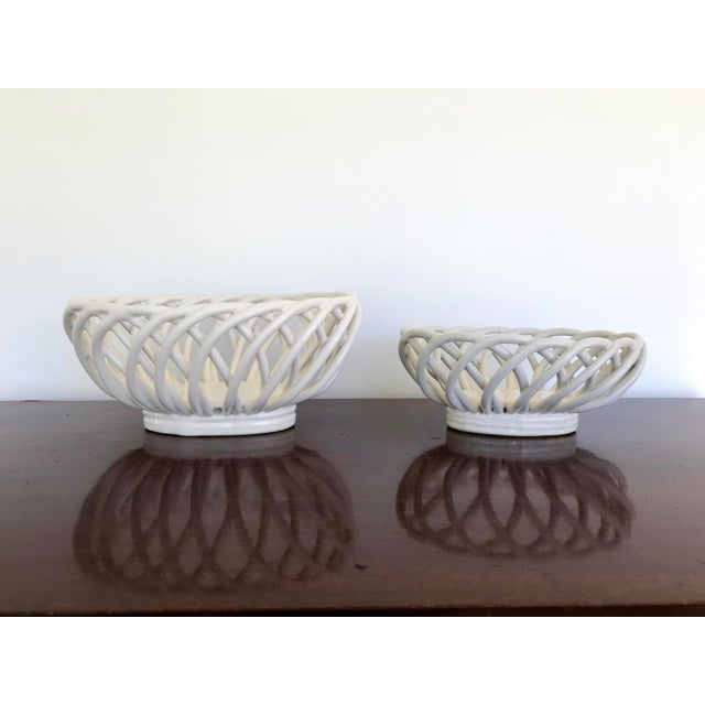 Mid 20th Century White Ceramic Open Weave Nesting Bowl Set - a Pair For Sale - Image 9 of 9