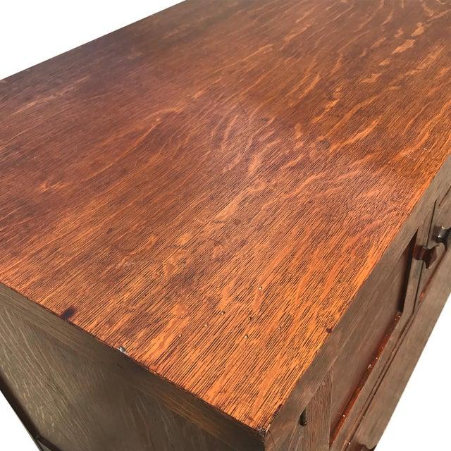 Brown Antique Arts & Crafts Mission Tiger Oak Buffet Server Stickly Roycraft Era For Sale - Image 8 of 9