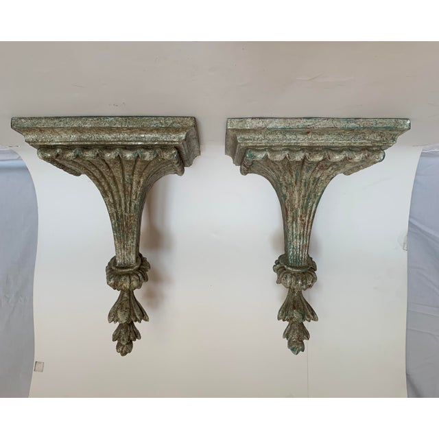 1950s Vintage Italian Carved and Painted Wood Corbel Brackets - a Pair For Sale - Image 12 of 12