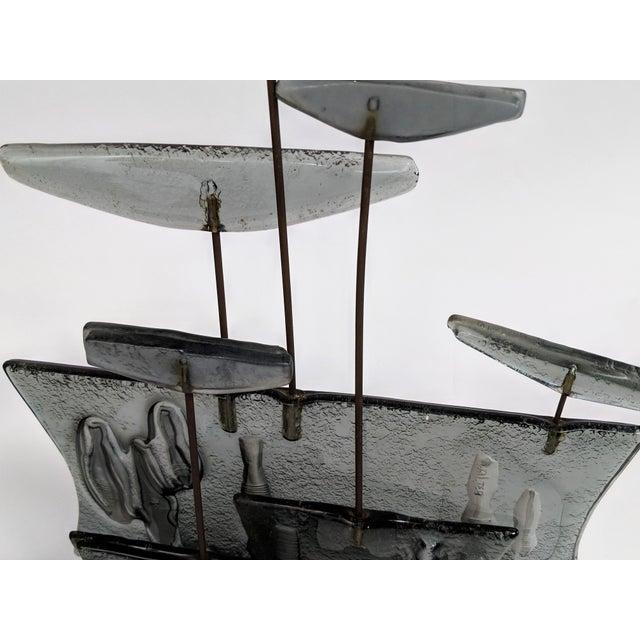 Higgins Style Studio Art Glass Sculpture on Wood Base - Image 8 of 11
