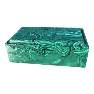 Vintage Chunk Faux Malachite Rectangular Art Base Block For Sale