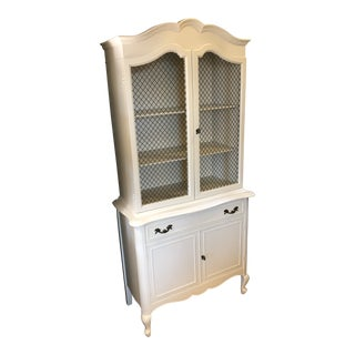 1960s Traditional White Display Hutch For Sale