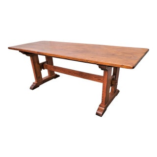 Antique Plank Monastery Solid Oak Refectory Dining Table For Sale