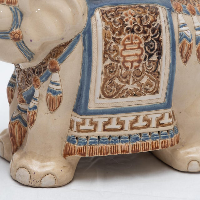 Elephant Ceramic Garden Stool/Side Table/Patio Garden Stool For Sale - Image 9 of 13