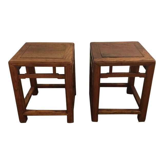 19th Century Chinese Jia Zhen and Beech Half Stools - a Pair For Sale