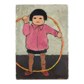 Child With Hula Hoop Oil on Canvas Painting